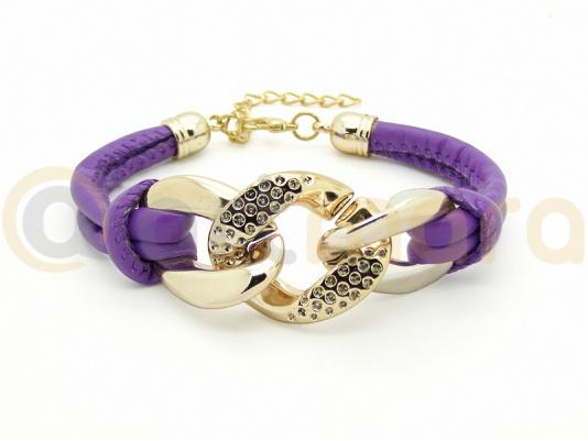 Bransoletka rzemień szyty violet (BIZ118E)