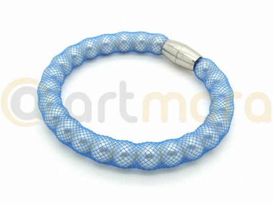 Bransoletka PERŁY SIATKA blue (BIZ12B)