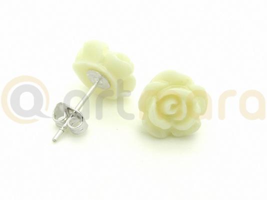 Kolczyki biała RÓŻA (BIZ99A)
