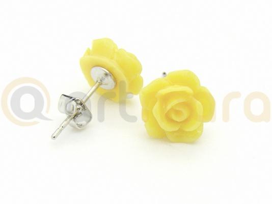 Kolczyki żółta RÓŻA (BIZ99B)