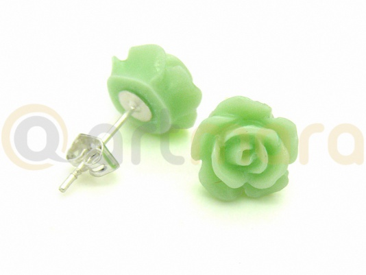 Kolczyki zielona RÓŻA (BIZ99E)