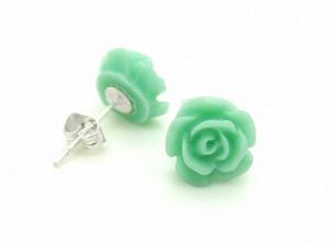 Kolczyki zielona RÓŻA (BIZ99F)