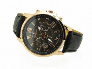Zegarek skórzany złoty GENEVA czarny (BIZ10B)