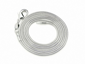 Posrebrzany łańcuszek ŻMIJKA 40cm 1mm (RLA04A)